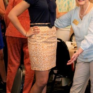 Dresses & Skirts - Orange and cream patterned pencil skirt